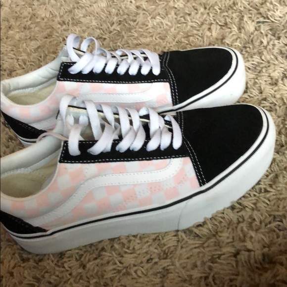 pink and white checkered old skool vans
